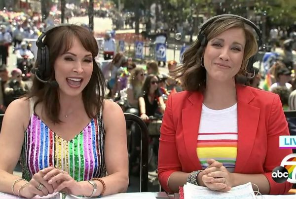 Hosts Brandi Hitt and Ellen Leva in a sea of bubbles on Santa Monica Blvd
