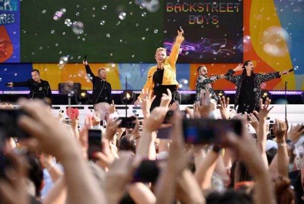 The Backstreet Boys Perform on Bubble Filled Stage, Central Park