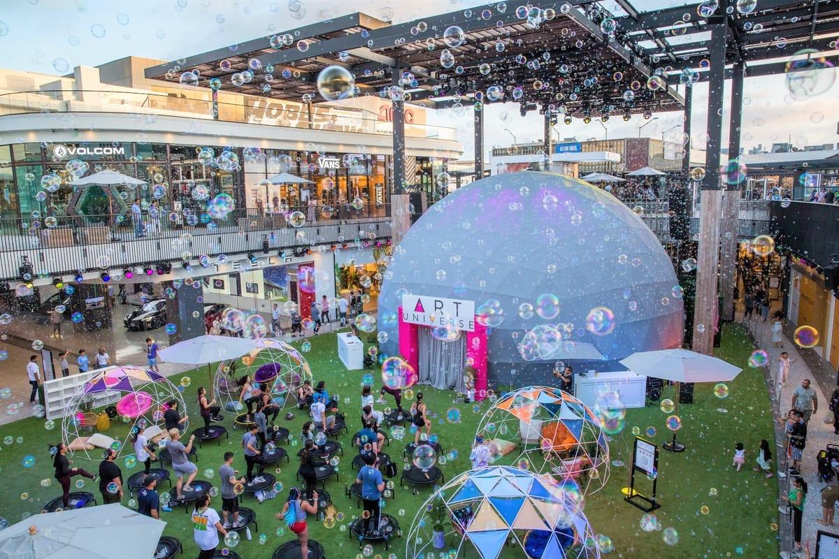 Bubbles fill the skies of Century City California.